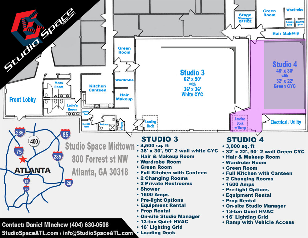 Studio Space Atlanta Midtown vehicle access